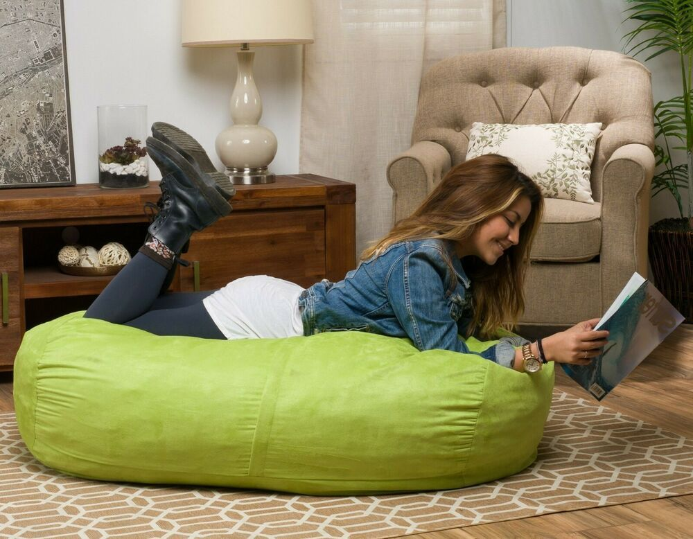 Swell Large Bean Bag Chair Adult Sofa 4 Ft Green Fabric Plush Foam Dailytribune Chair Design For Home Dailytribuneorg