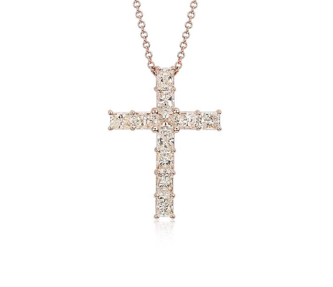Radiant cut diamond cross pendant in 18k rose gold 3 12 ct tw radiant cut diamond cross pendant in 18k rose gold 3 12 ct tw blue nile aloadofball Images