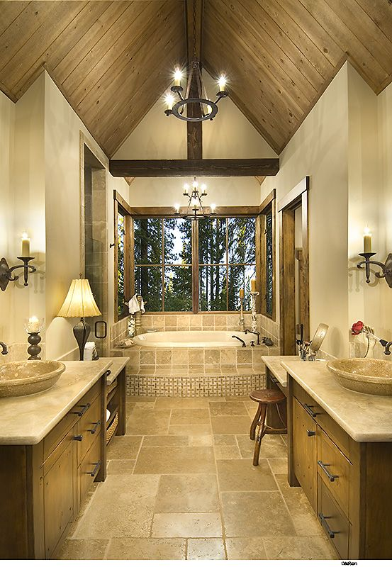 Lodge Style Bathroom Love The Vanity And Symmetry