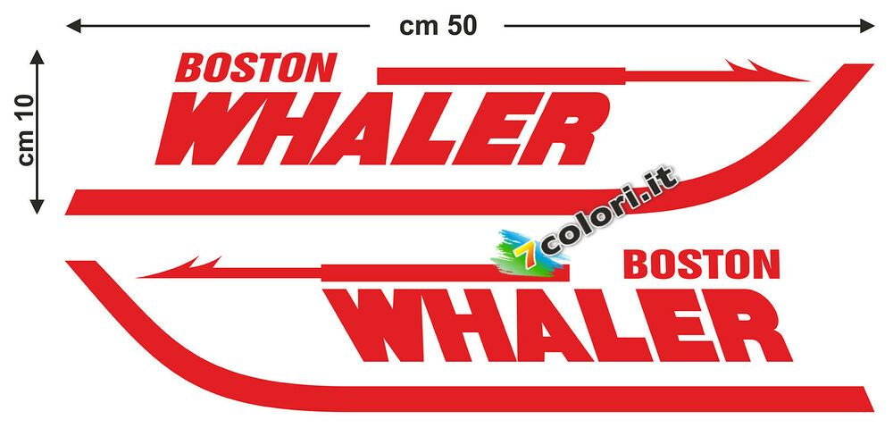 1 SX barca Boston Whaler Coppia adesivi in vinile marino nautica 1 DX