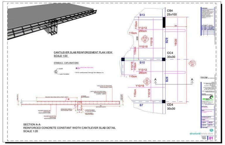 Reinforced Concrete Constant Width Cantilever Slab Detail Reinforced Concrete Concrete Retaining Walls Concrete Footings