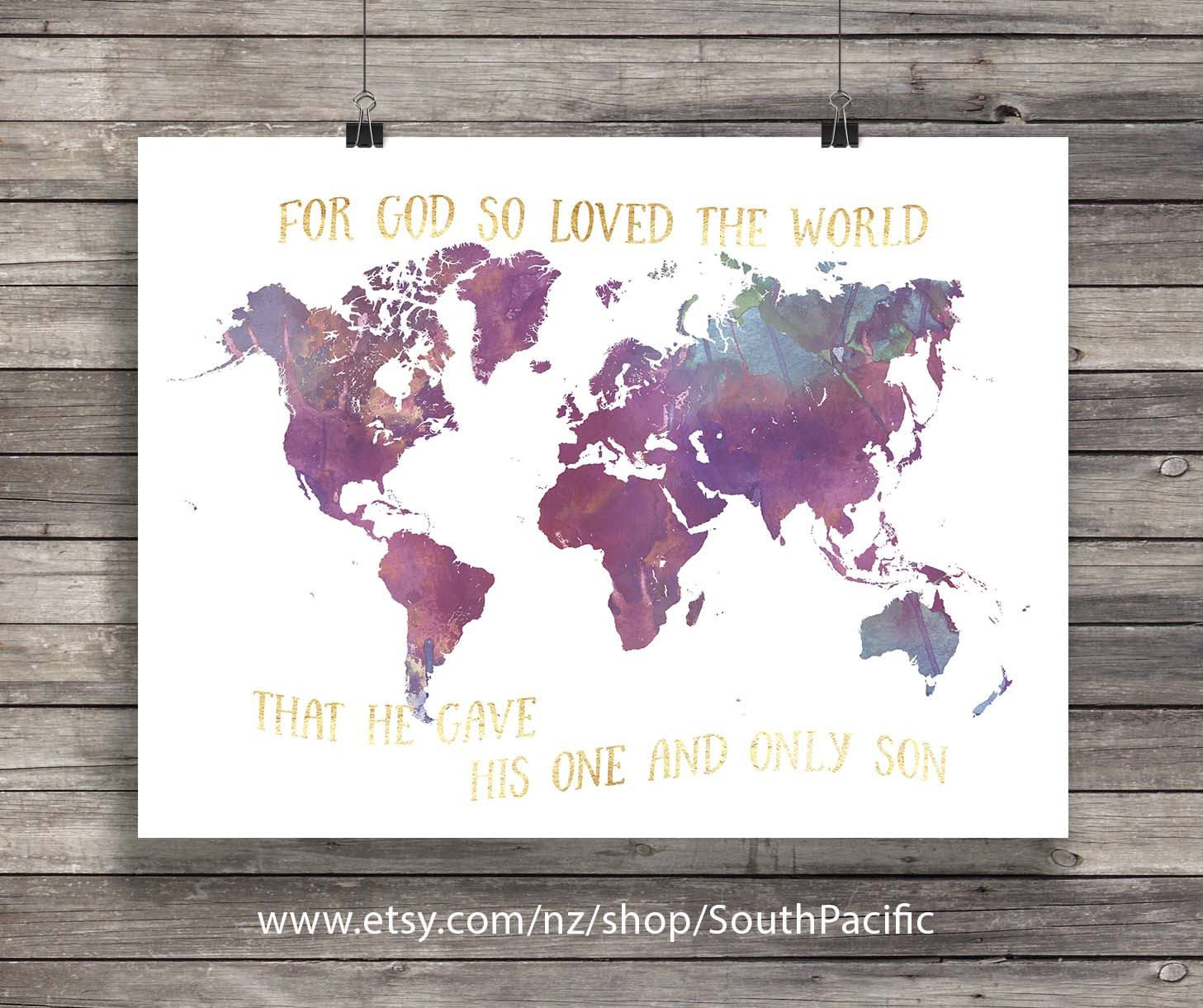 Printable art watercolor world map john 316 god so loved the printable art watercolor world map john 316 god so loved the world gumiabroncs Image collections