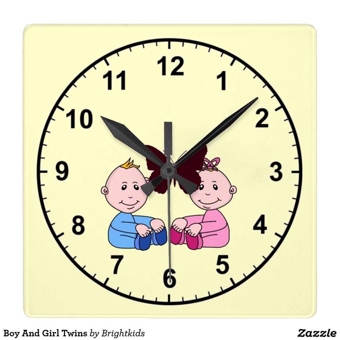 Boy And Girl Twins Clock