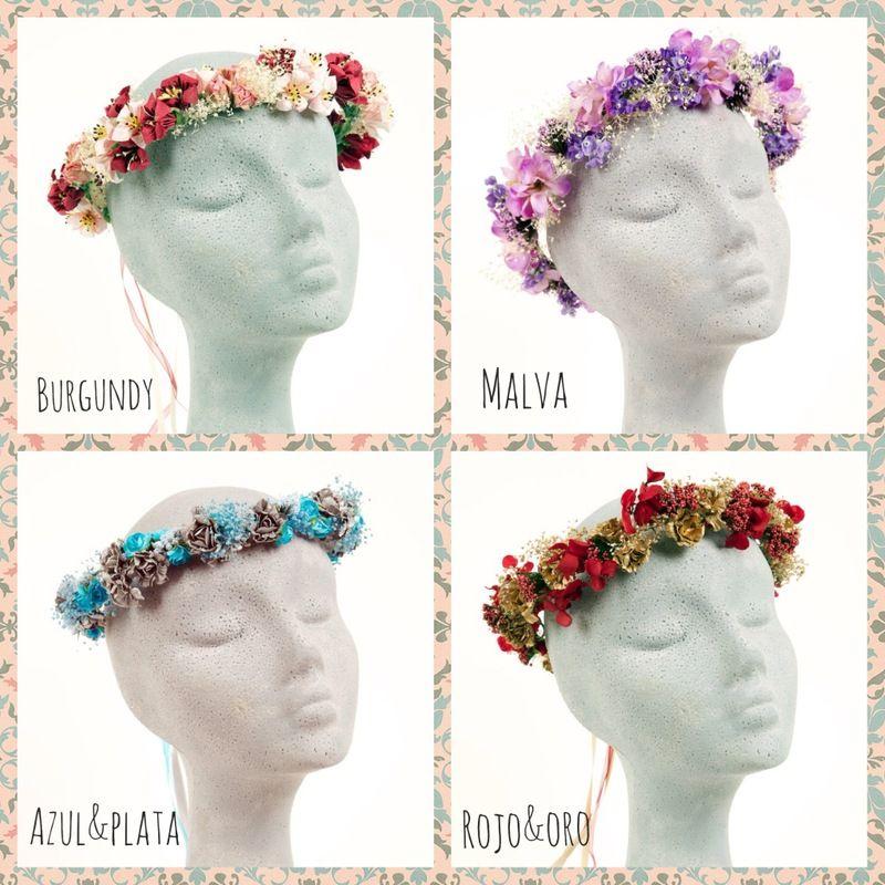 sorteo de una tiara o corona de flores burgundy, malva, azul y playa,