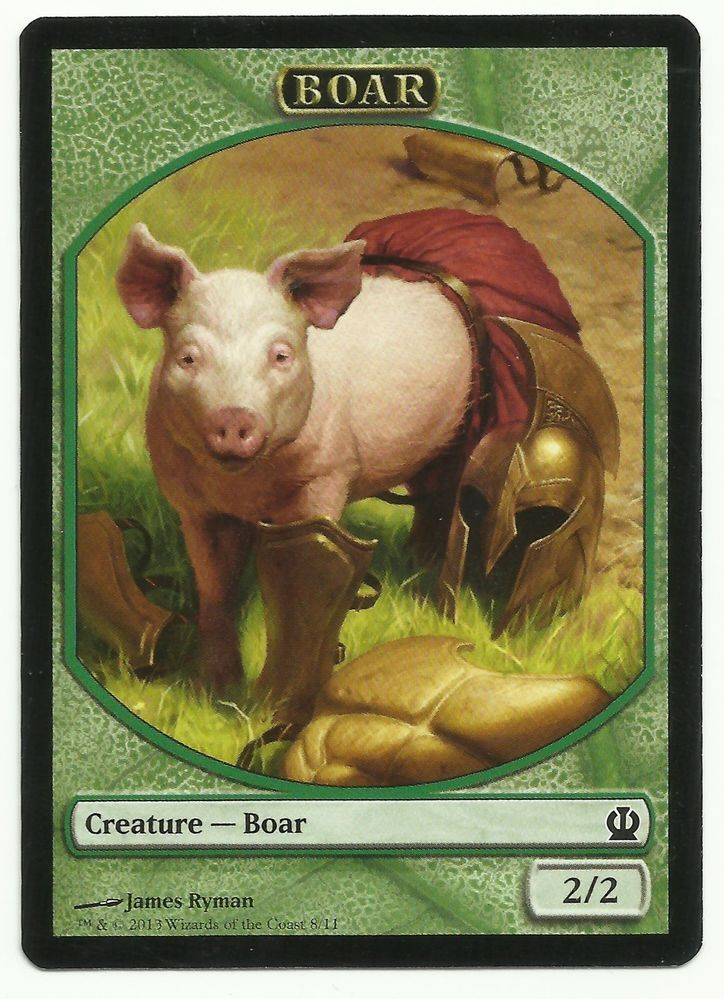Boar Token X1 Mtg Theros Green Magic The Gathering Card Edh