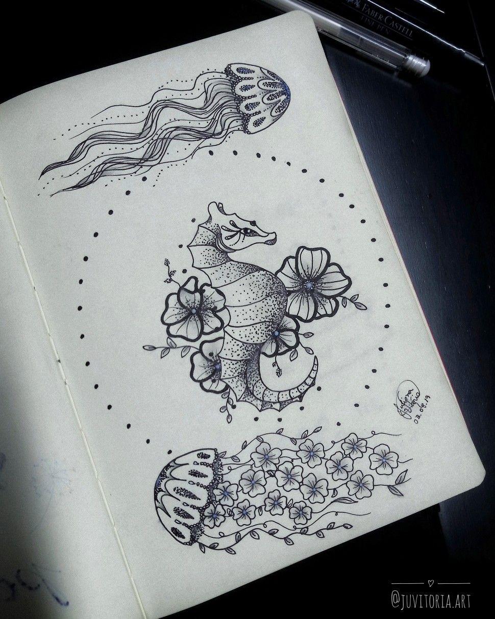 Cavalo Marinho E Agua Viva Cavalomarinho Tattoo Art Arte