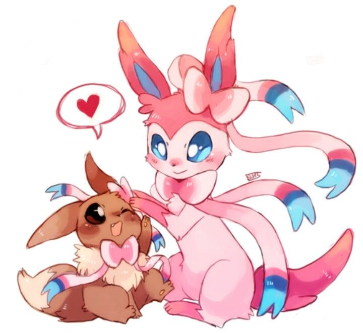 Eevee N Sylveon Cute Pokemon Pokemon Eeveelutions Pokemon