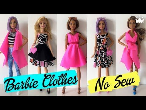 How to make No Sew Barbie Clothes! DRESSES, SKIRT, TOP AND VEST. Compilation