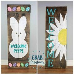 Hey, I found this really awesome Etsy listing at https://www.etsy.com/listing/470343332/reversible-sign-welcome-sign-easter-sign