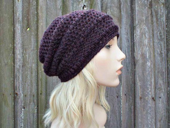 6912b45e687279 Dark Purple Crochet Hat Purple Hat Purple Beanie Womens Hat - Penelope Puff  Stitch Slouchy Beanie Hat - Purple Winter Hat - READY TO SHIP