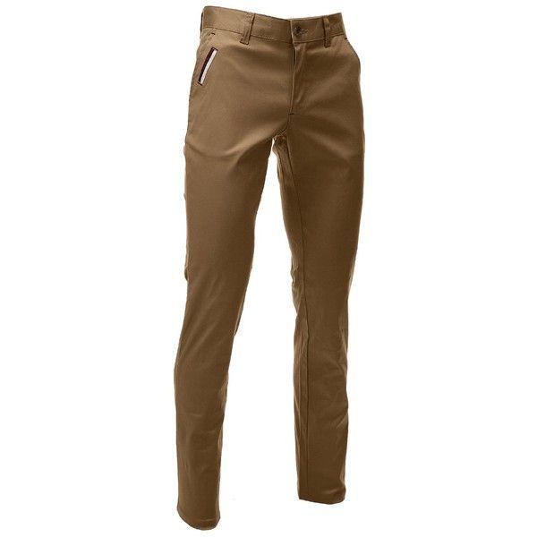 FLATSEVEN Mens Slim Fit Chino Pants Trouser Premium Cotton (44,650 KRW) via Polyvore featuring mens, men's clothing, men's pants, men's casual pants, chino pants and flatseven