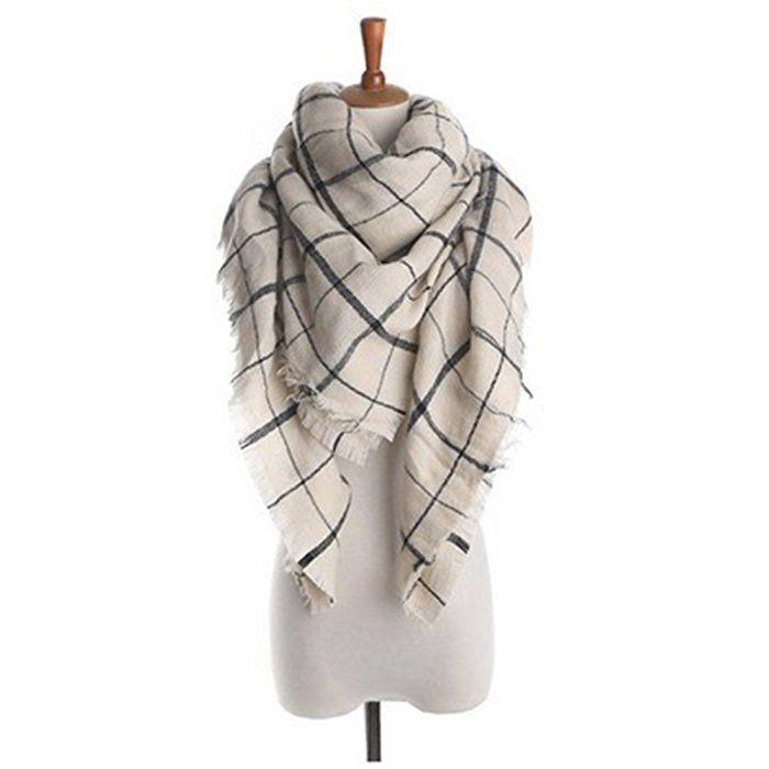 Women's Cozy Tartan Scarf Wrap Shawl Neck Stole Warm Plaid Checked Pashmina (2)