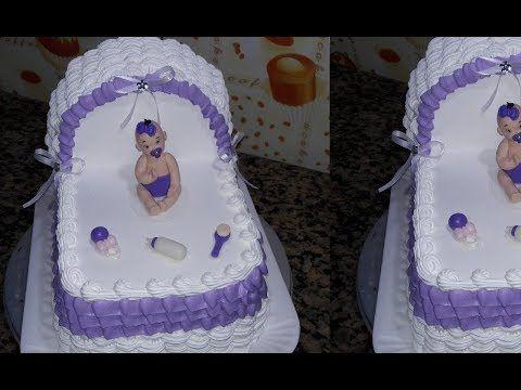Bolo Em Formato De Berco Youtube Baby Shower Cakes Bolo Cha