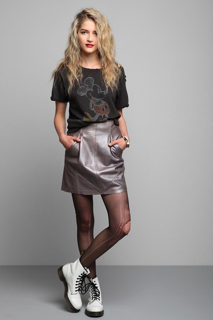 Vintage '80s Metallic Leather Skirt #urbanoutfitters #vintage