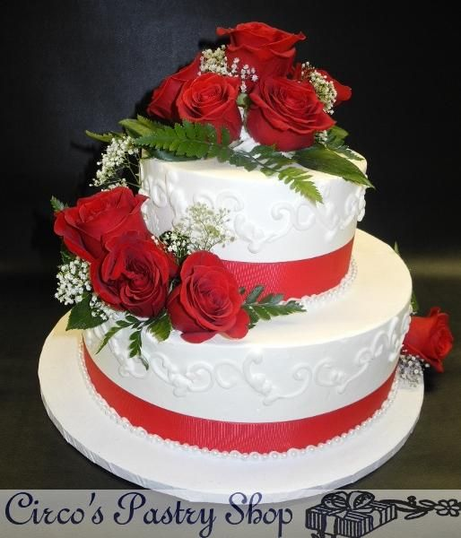 White and Red Whip Cream Cake Whip Cream Wedding Cake with Fresh Red