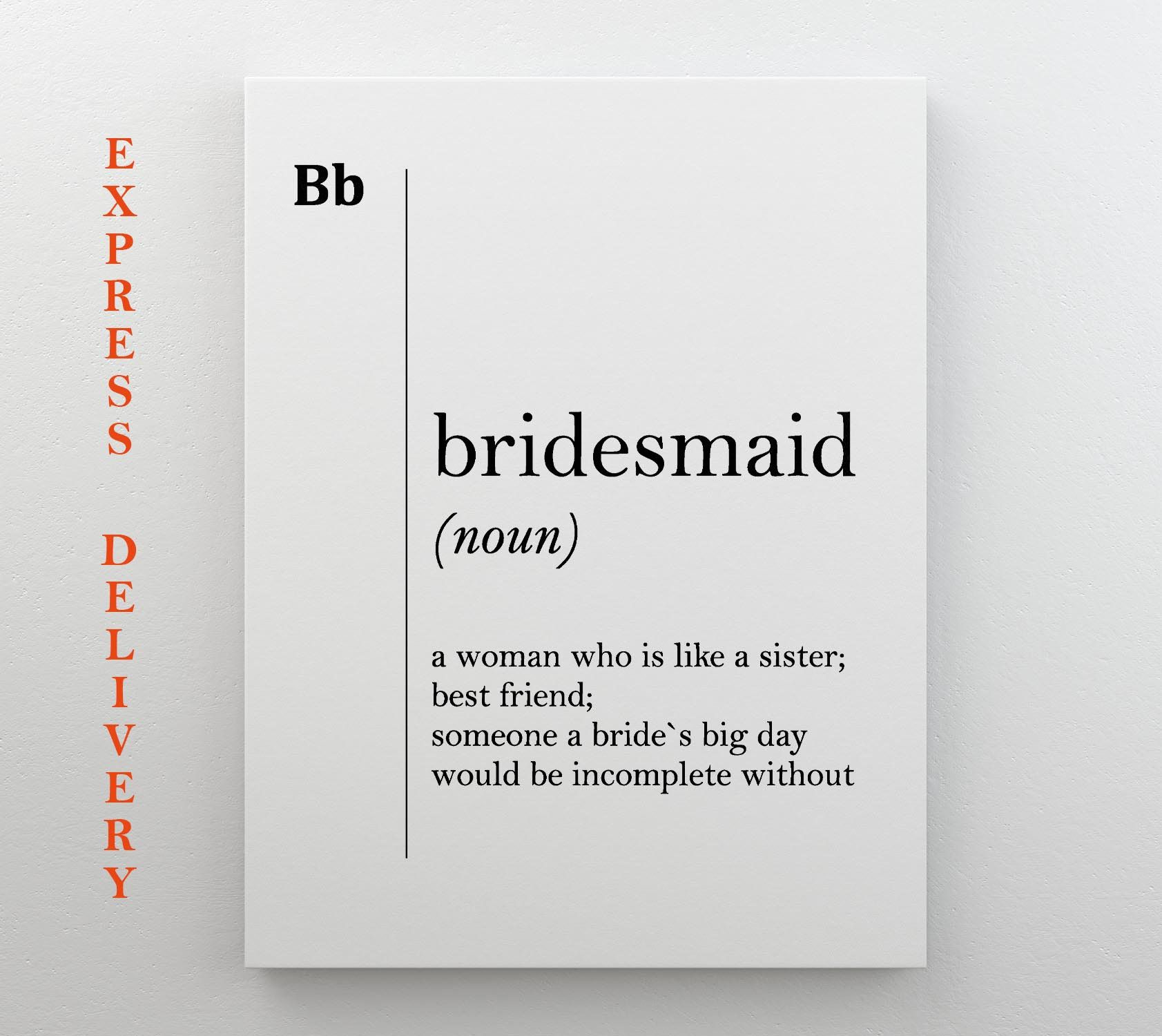 Bridesmaid canvas art definition print bridesmaid gift for