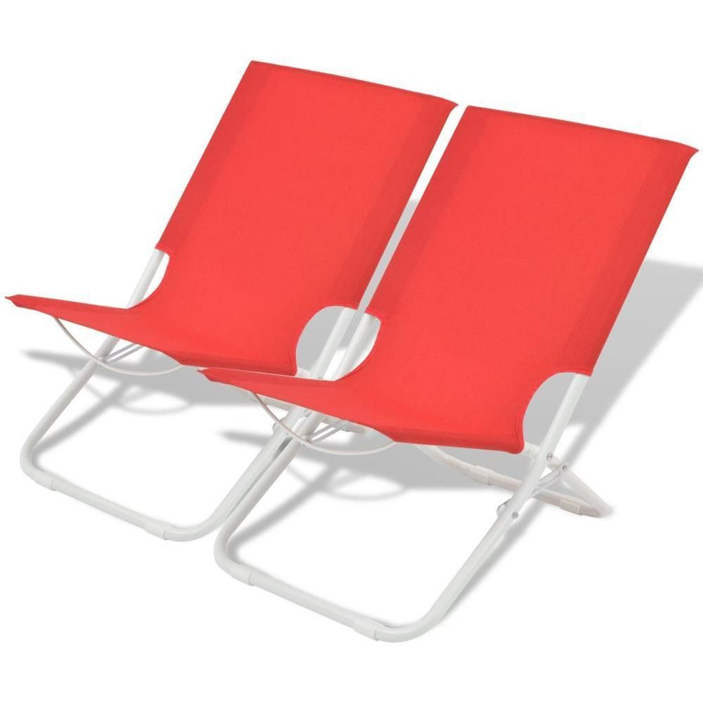 Folding Chairs Set Red Colored Finish Polyester Material Made ...