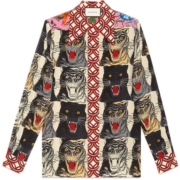 28fbf96f0d602 Gucci Tiger Face Print Silk Shirt found on Polyvore featuring tops ...