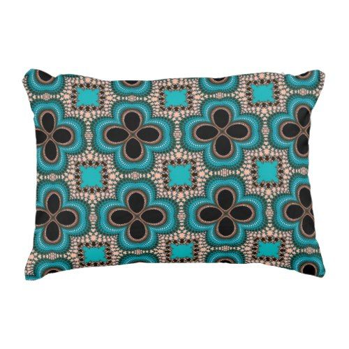 Moroccan Geometric Floral Pattern Teal Tan Black Decorative Pillow Awesome Teal Decorative Bed Pillows