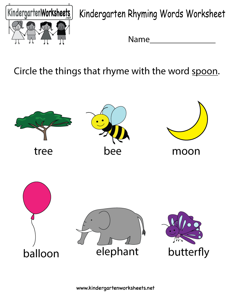 This Is A Rhyming Words Worksheet For Kindergarteners You Can