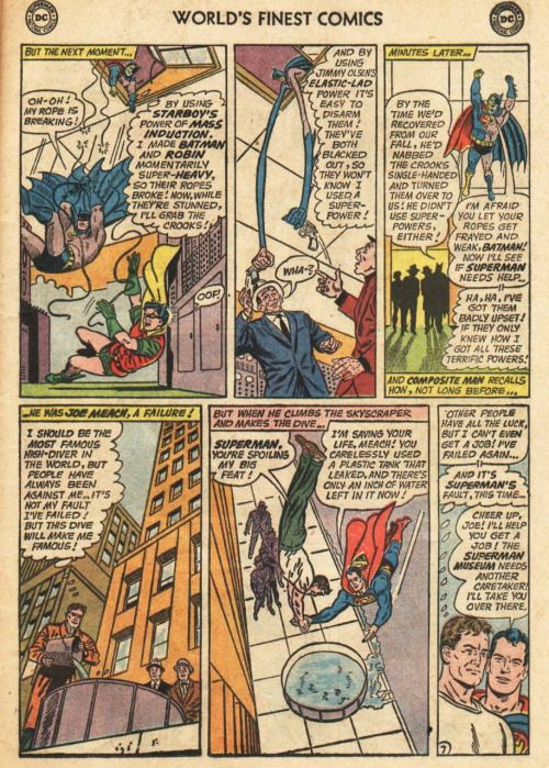 Curt Swan has to draw several vertical-action panels (panels 1, 2, 4 and 5) so he chooses to render the two other panels, which don't need to be drawn as verticals, in the same form, and varies the angles on every panel to keep them visually dynamic. Fitting in all the word balloons in panel 3 make it the weakest visually but I wouldn't really hold that against this page; sometimes, old-timey comics needed an exposition bomb or two to move a story along… From World's Finest 142.