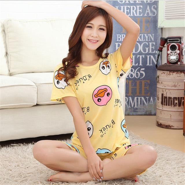 2017 Women Pajamas Sets Hot Summer Short Sleeve Thin Cotton Cartoon Print  Loose Sleepwear Girl pijamas 9de2cf918
