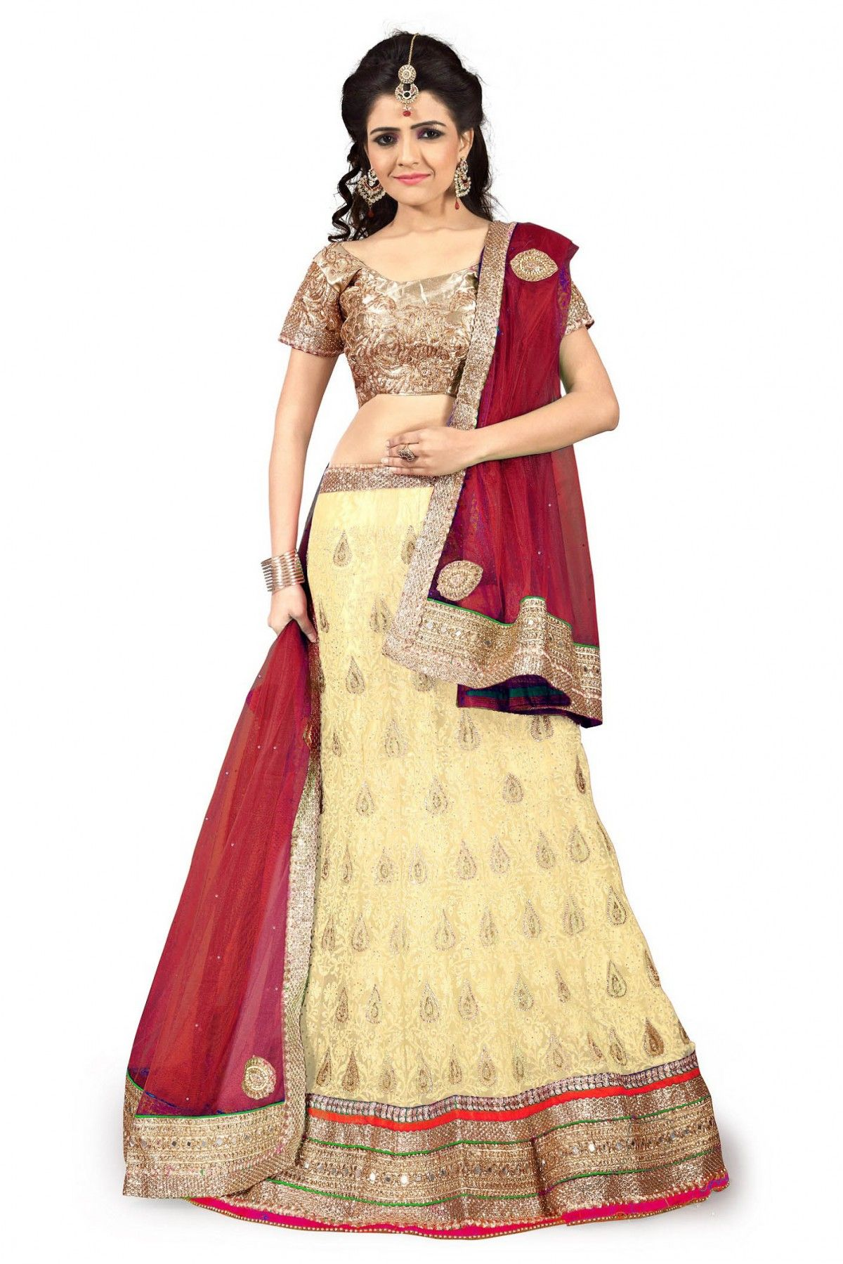 e59de85cbe Net Party Wear Lehenga Choli In Beige Colour.It comes with matching Dupatta  and Choli.It is crafted with Resham Work,Zari Work,Stone Work,Mirror Work  ...