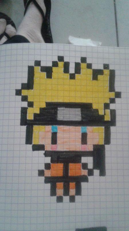 Naruto Dessin Sur Petit Carreaux Pixel Art Manga Et