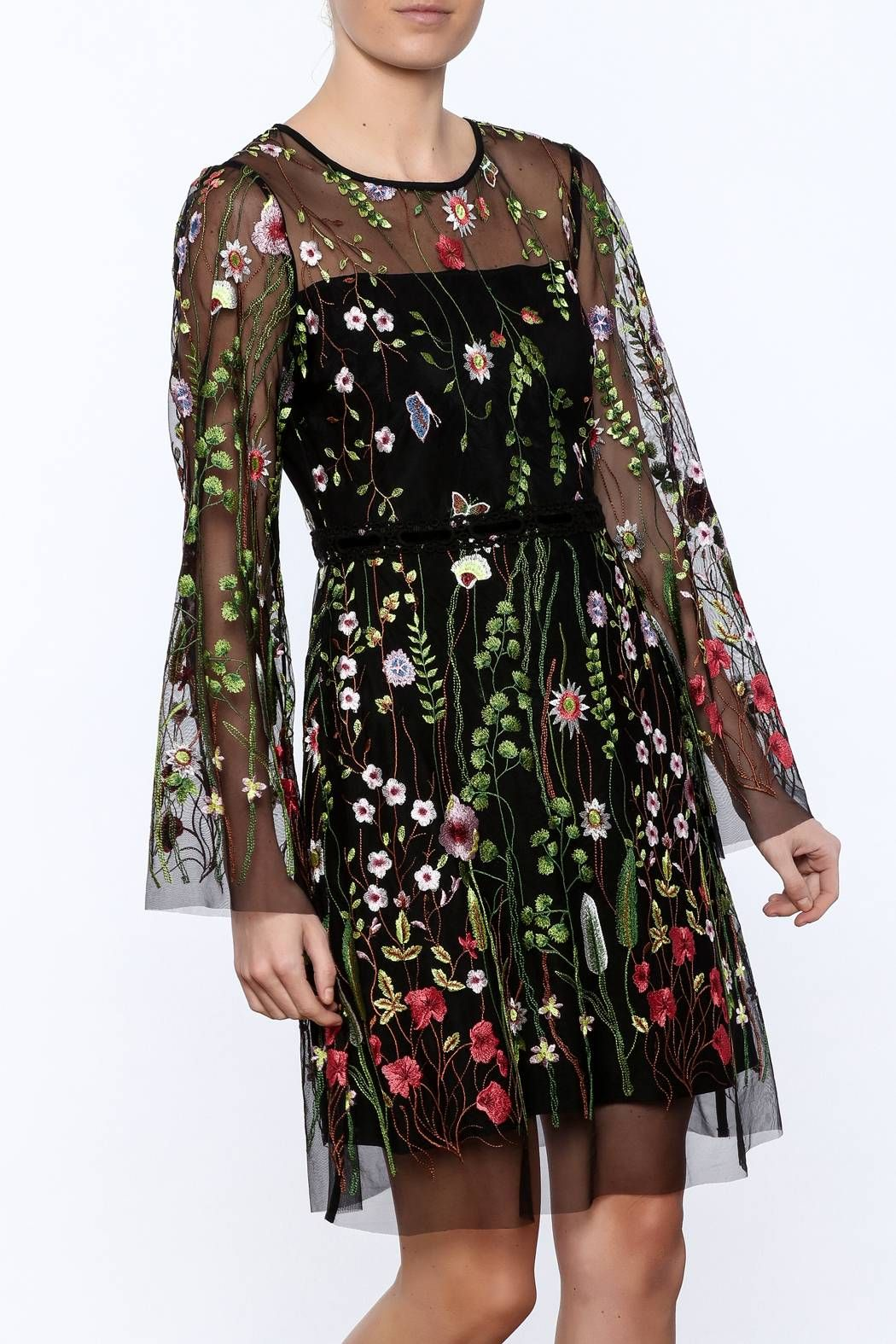 Sheer Sleeved Embroidered Floral Dress Floral Embroidered Dress Dresses Fashion [ 1575 x 1050 Pixel ]