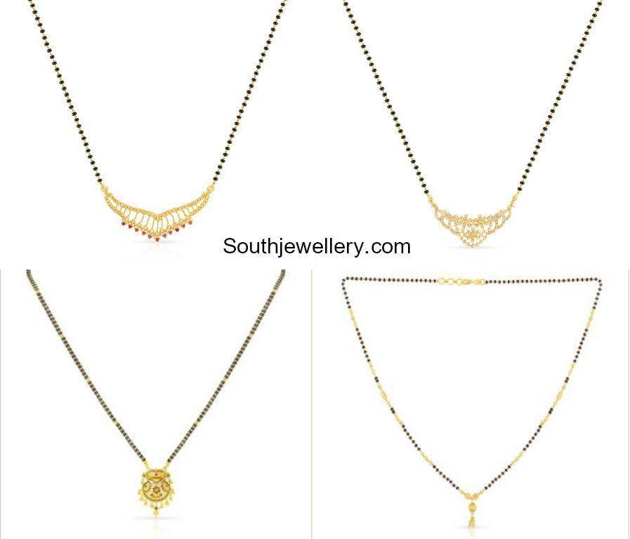 Light Weight Nallapusalu Chains Malabar Gold And Diamonds Black Beads Gold Gold Necklace