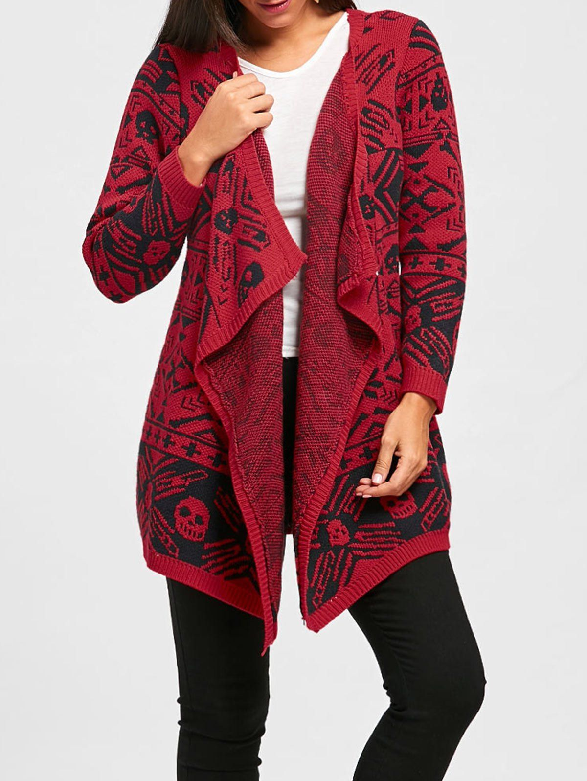 Fashionable Collarless Long Red Womens Cardigan  c0630dab7