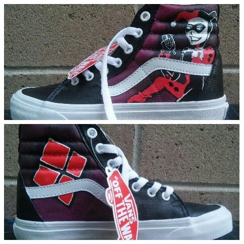 b5d015750b Custom painted Harley Quinn Sk8-Hi VANS shoes by Andrew Vargas ...