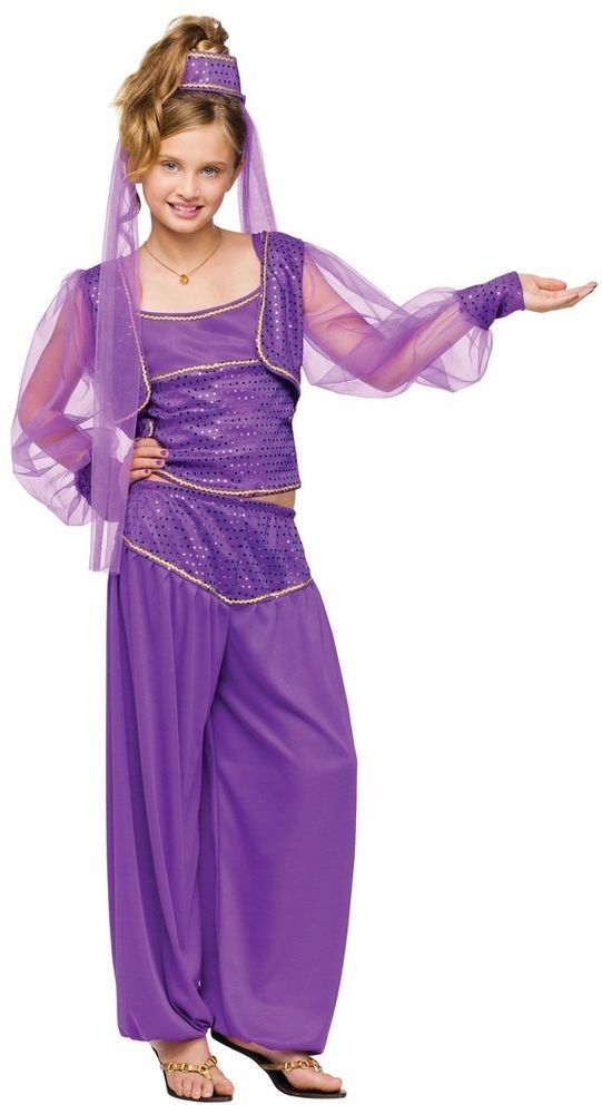 6dca45d0ec406 Girls Purple Arabian Nights Jasmine Genie Eastern Fancy Dress ...