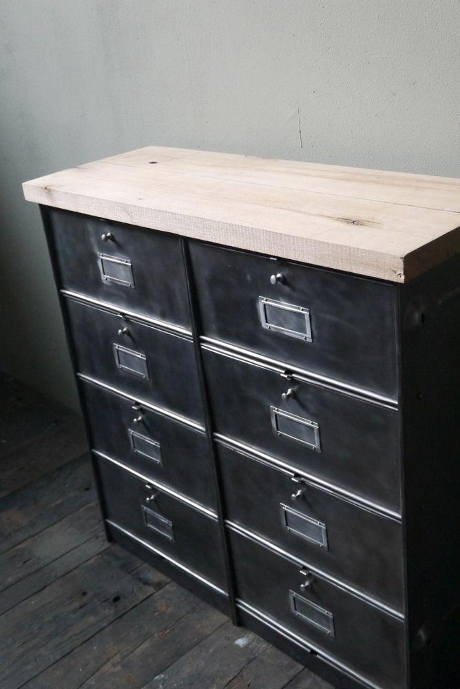 meuble console 8 casiers industriel clapet Roneo plateau chene - Renovation Meuble En Chene