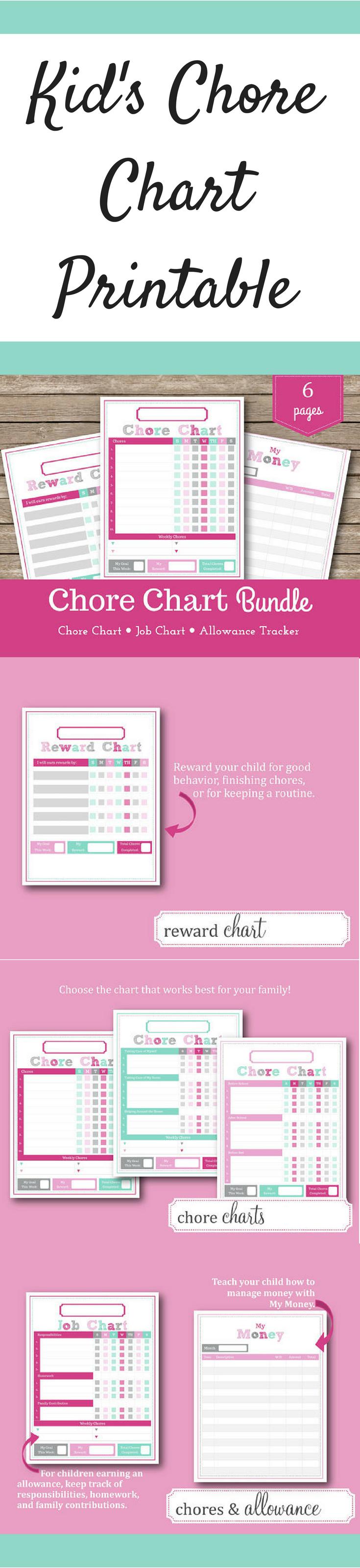 Kid S C Chart And Rewards Printable Allowance Tracker Ad Cs Paing