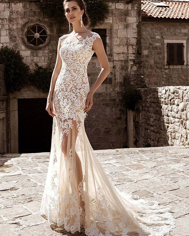 Hellobridal - zweiteilige Brautkleid mit Spitze Appliques Tüll ...