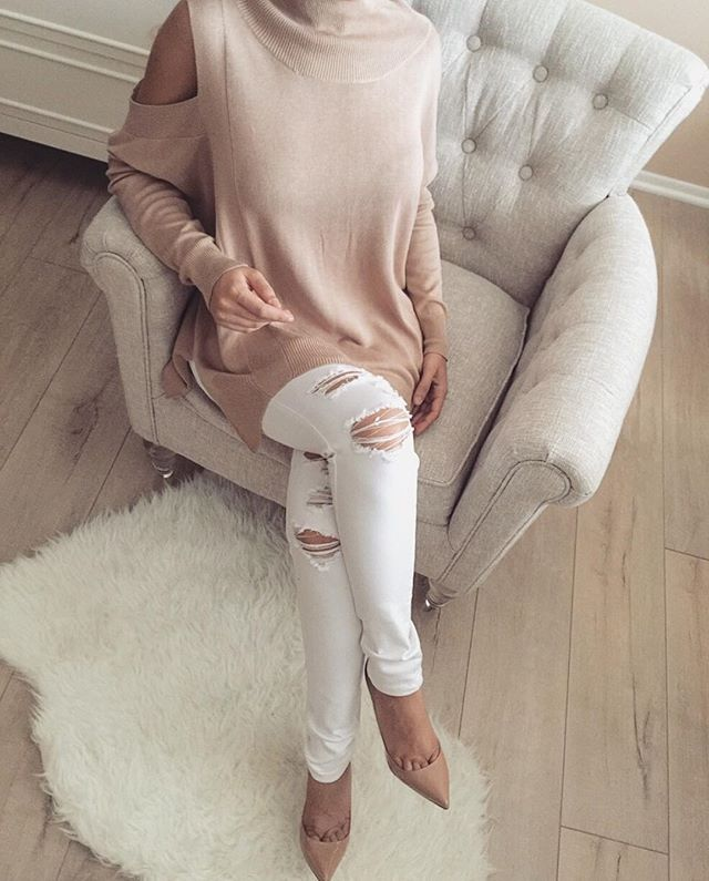 White Distressed Jeans + Nude Open Shoulders Sweater | Check Out This Weeks Arrivals ✔️www.ZieBoutique.com✔️ #zieboutique #newarrivals #nudestyles