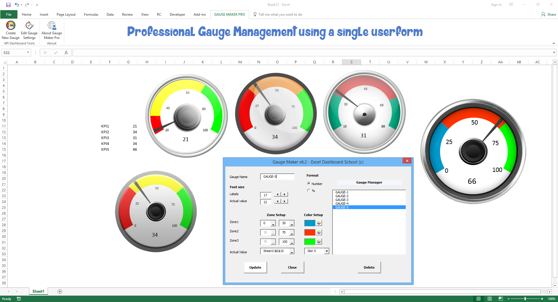 Excel Live Kpi Dashboard