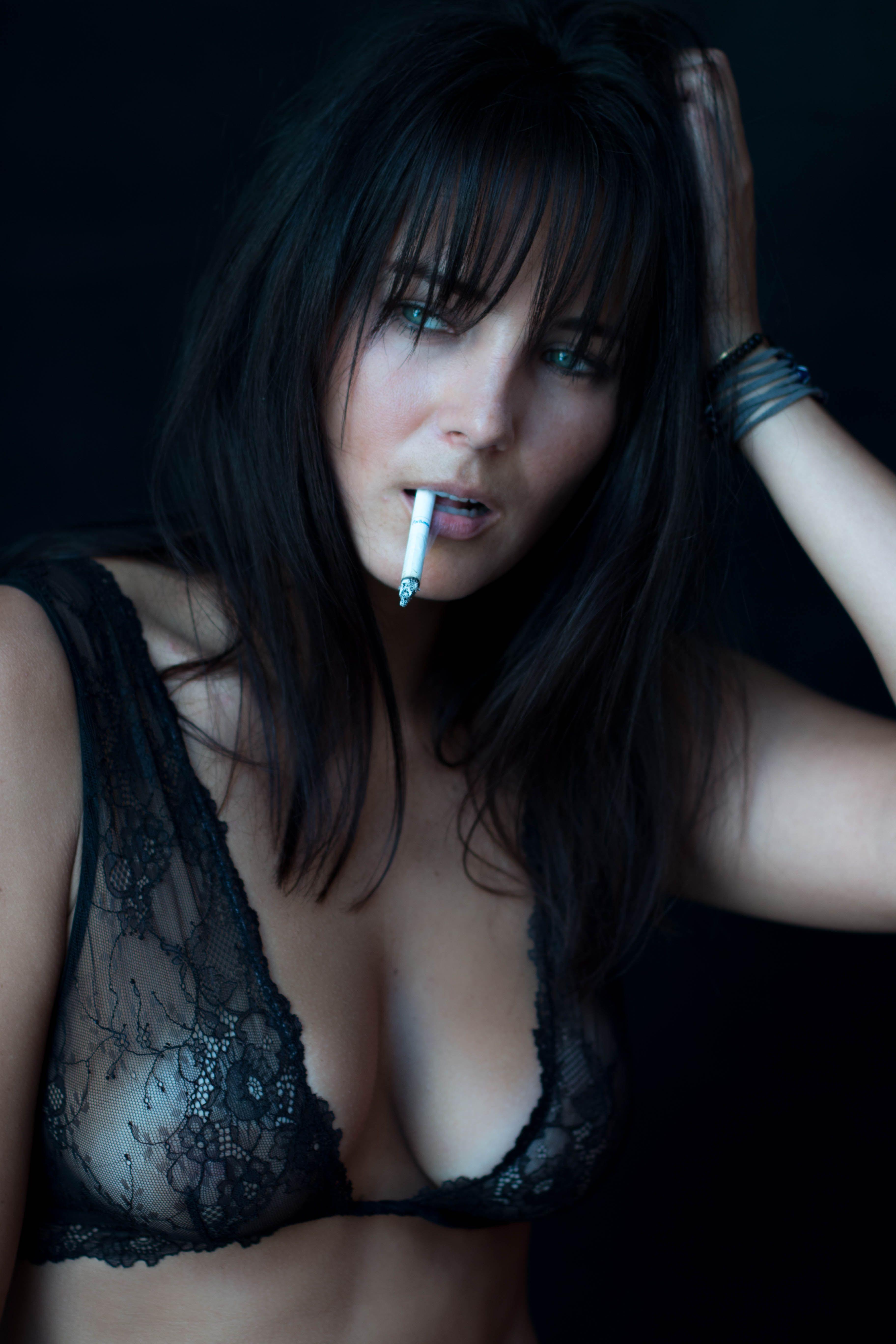 Big breasted girls smoking