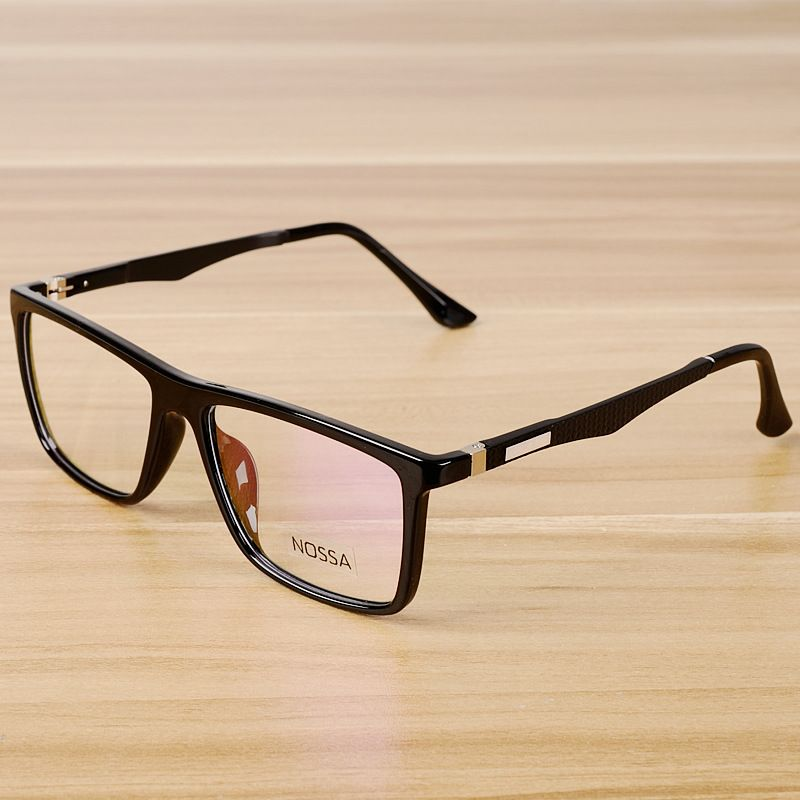 Square Glasses Frame Brand TR90 Titanium Black Leopard Optical ...