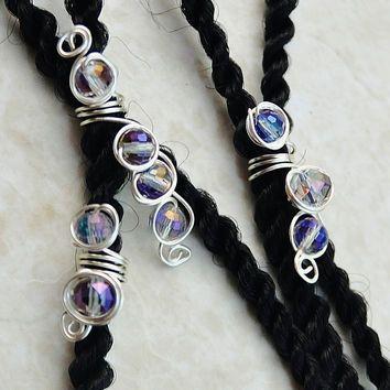 Hair Bead for Dreads Blue Wire Lock Coil Wire Loc Cuff Dreadlocks Cuff Coil Boho Gift for her Hair Cuff for Braids Hippie Dread Bead