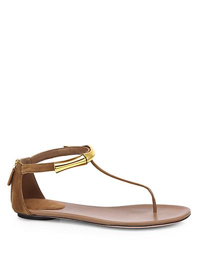 5cdbefc4f669 Gucci - Coraline Suede Bamboo Thong Sandals - Saks.com - 550 ...