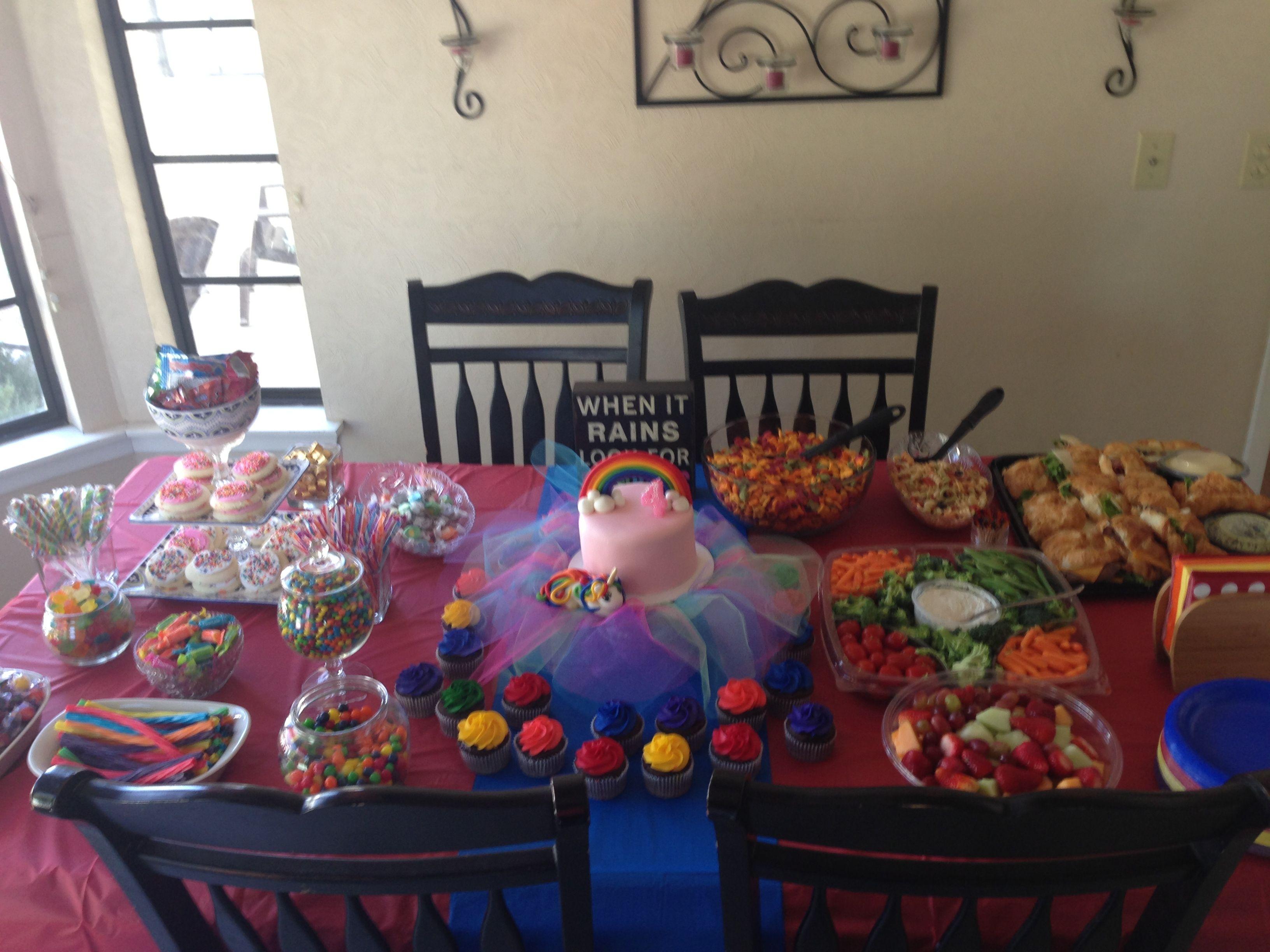 Halloween candy buffet idea - Food Table And Candy Buffet Rainbow Unicorn Birthday