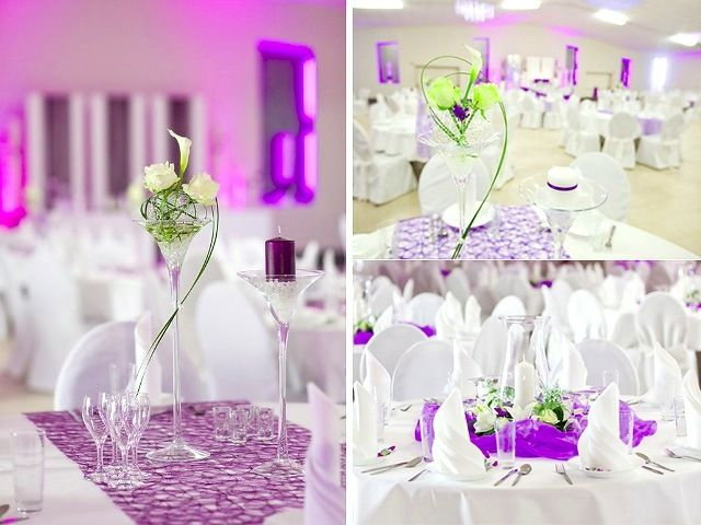 Hochzeit Tischdeko Weisse Rosen Calla Blumen Weinglaser Wedding