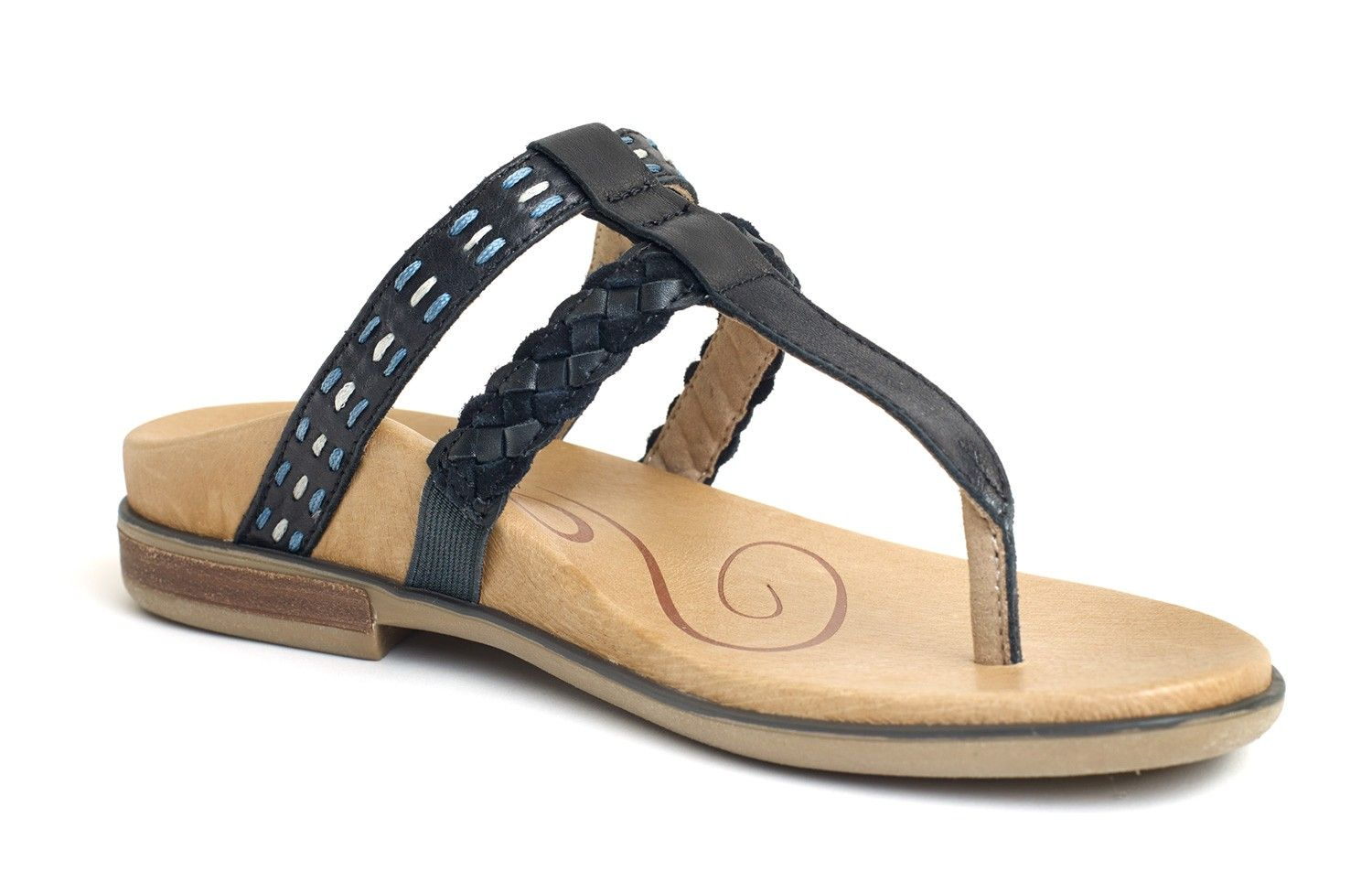 7ac948ba6d3 Mona Braided Thong Sandal - Black - Women - Aetrex Worldwide Orthotic  Comfort Shoes