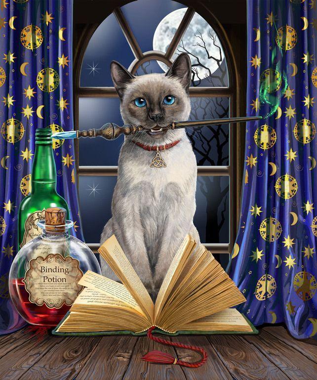 Www Lisaparker Co Uk Art Gallery Magic Cat Cat Art Cat Artwork