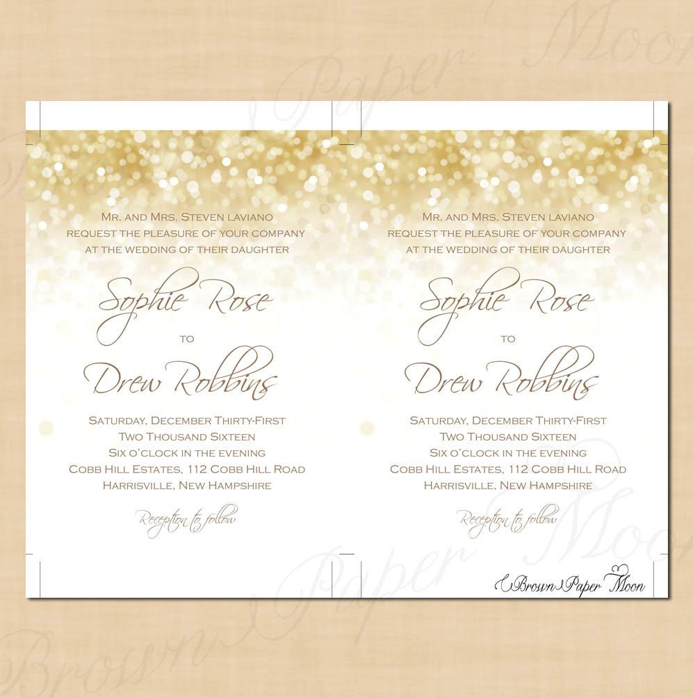 These White Gold Sparkles Wedding Invitations were designed to ...