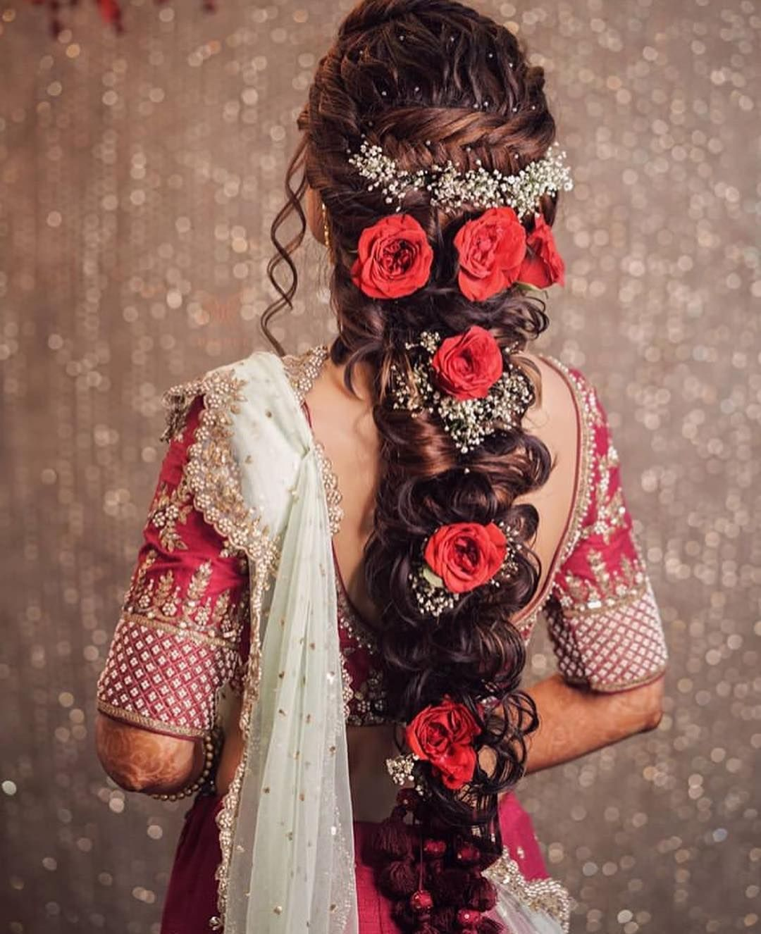 Beautiful Floral Bun For Your Wedding Day Weddingplz Engagement Hairstyles Hair Styles Bridal Hairstyle Indian Wedding