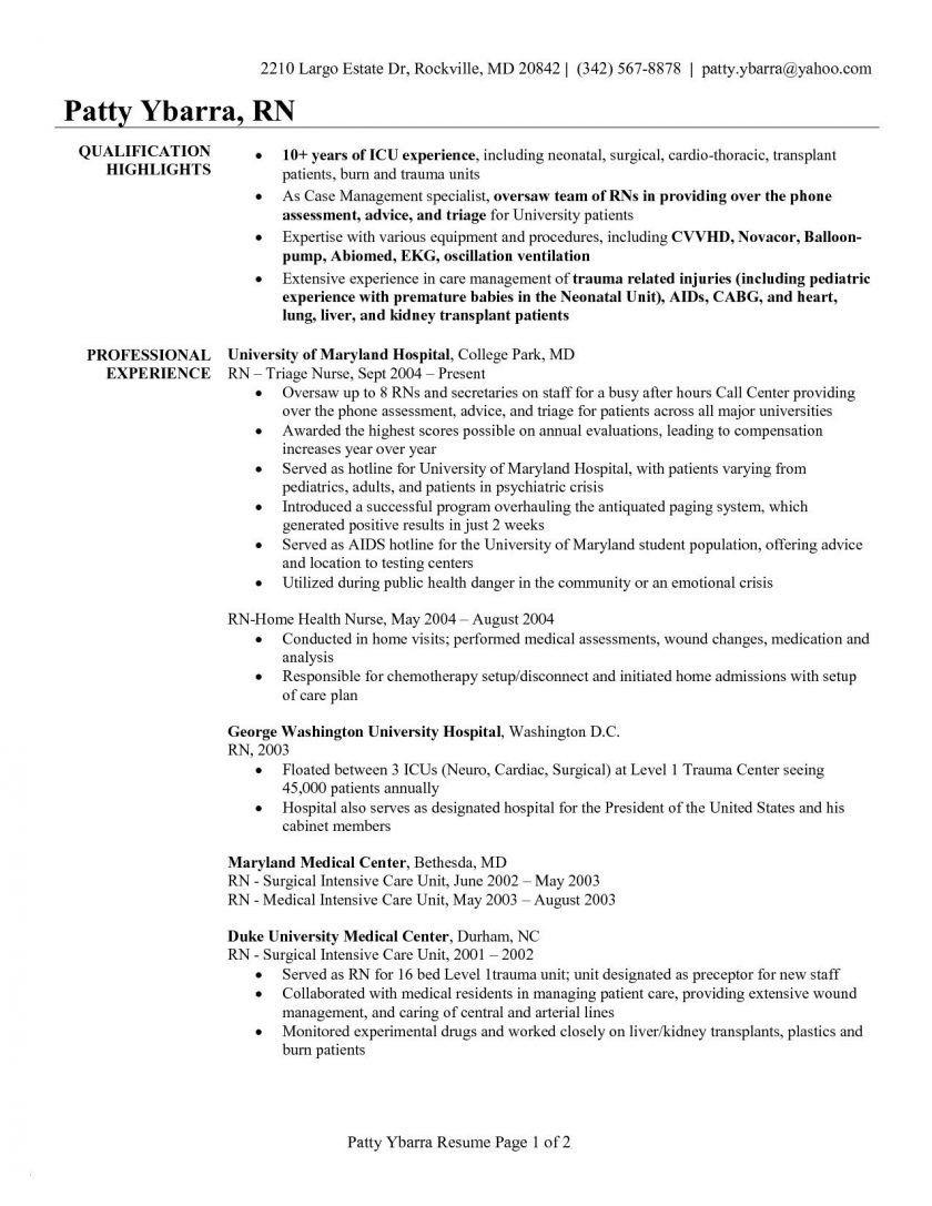 Critical Care Nurse Resume Unique Resume Sample Neuro Icu