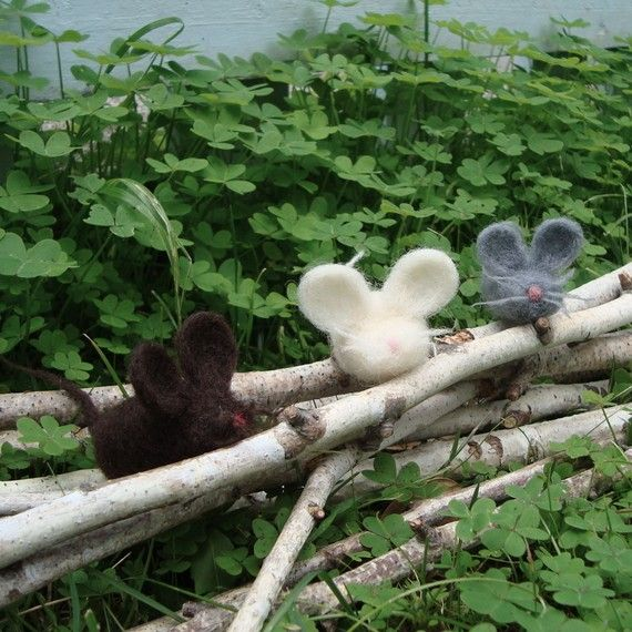 Felted Mouse Trio by CraftsmenByNight on Etsy